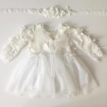 2020 Baby Girls Romper Set Newborn Baby Christening Dress + Headband + Hat Flower Lace romper