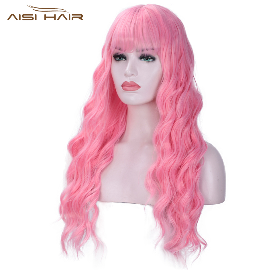 I's A Wig Pink Wigs With Bangs Long Water Wave Synthetic Wigs For Women African American Can Be Cosplay Heat Resistant Hair