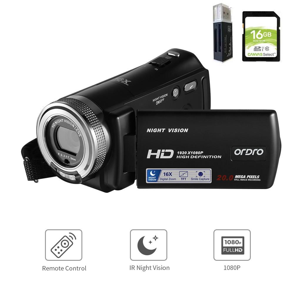 Видеокамера Ordro V12 Vlog, цифровая домашняя видеокамера Filmadora, 1080P HD, ночное видение, для YouTube, блогера, фотография