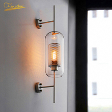 Nprdic LED Golden Gloss Wall Lamp Lighting Glass Shade Lamp Iron Fixtures Sconces Home Bedroom Attic Bedside Wall Light Fixtures