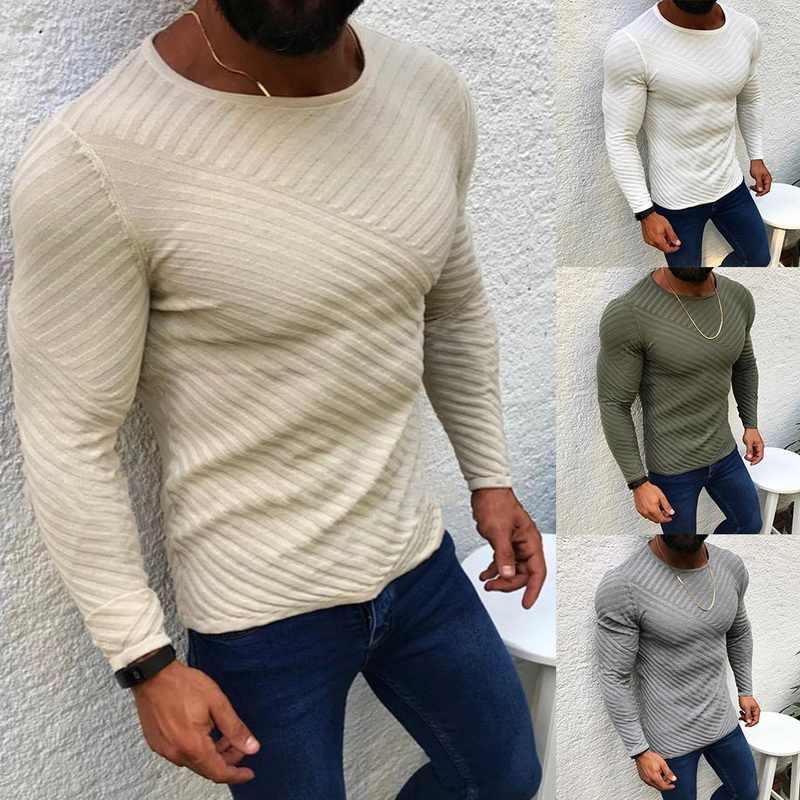 Männer Fashion Solid Farbe Gestreifte Gestrickte Pullover Männlichen Oansatz Langarm Slim Fit Casual Pullover Weichen Warme Strickwaren 2019 Neue