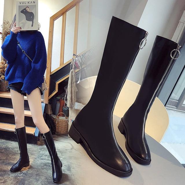 แฟชั่นสตรีเข่าสูงรองเท้าบูทต่ำสแควร์ Toe รองเท้าฤดูใบไม้ร่วงฤดูหนาว Solid Zipper สุภาพสตรีรองเท้า