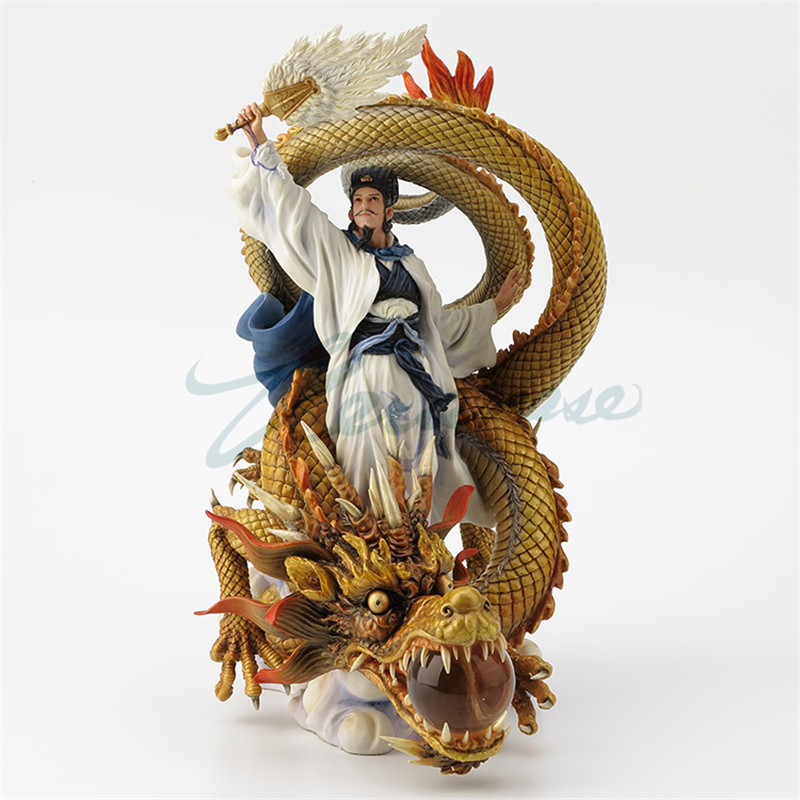 Chinese Style Zhuge Liang Riding Dragon Statue Romance Of Three Kingdoms Hero Characters Sculpture Resin Craft Home Decor R2317