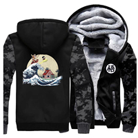 Men Thick Winter Fleece Warm Jacket Dragon Ball Baseball The Great Retro Wave Coats Streetwear Japan Anime Sportswear Jackets