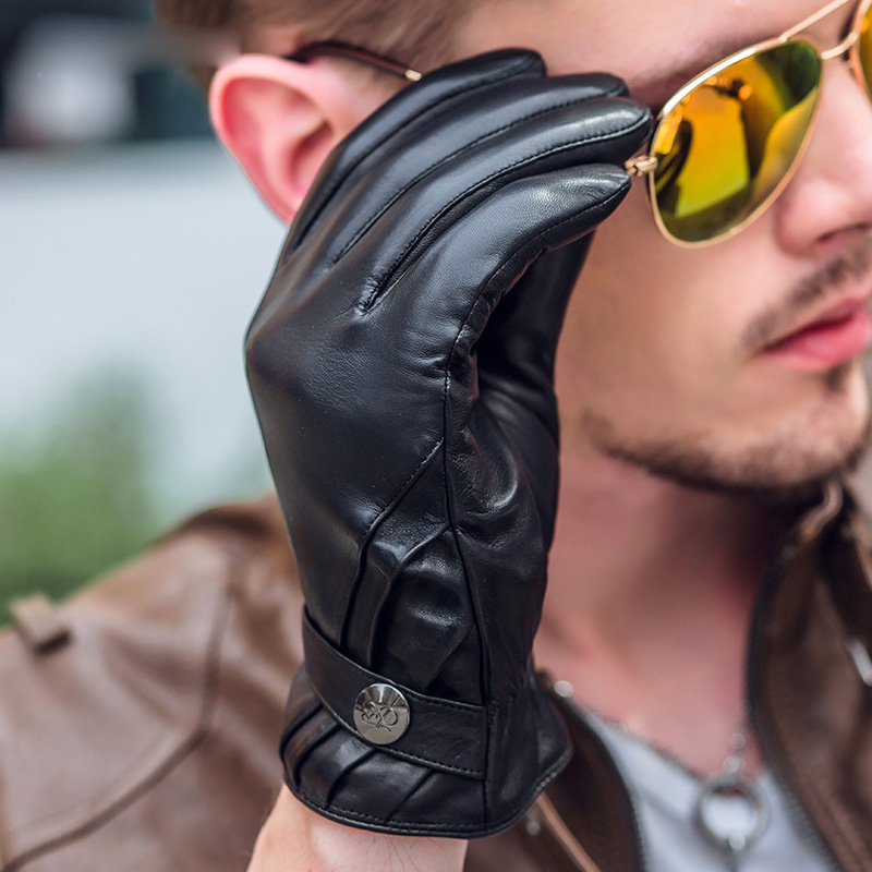 Man's Leather Gloves Business Slim Hand Sheepskin Keep Warm Thicken Classic Black Driving Real Leather Gloves Male NM790