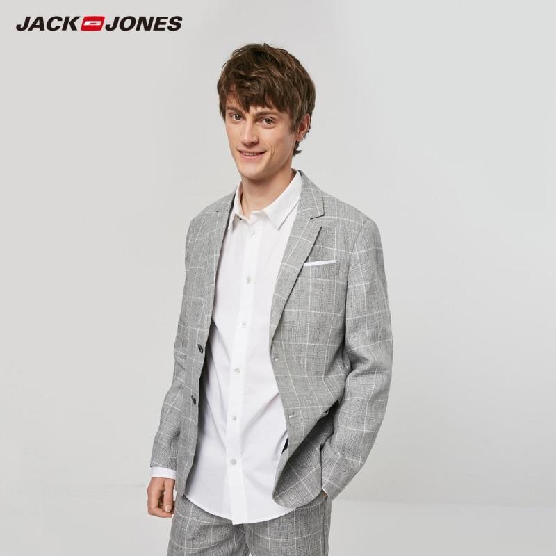 JackJones Men's Slim Fit Linen Durable Plaid Blazer|Style 219208502