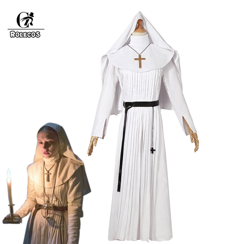 ROLECOS Nun Halloween Costume for Women The Nun Cosplay Costume Sister Irene White Cosplay 2018 Horror Films The Conjuring Party