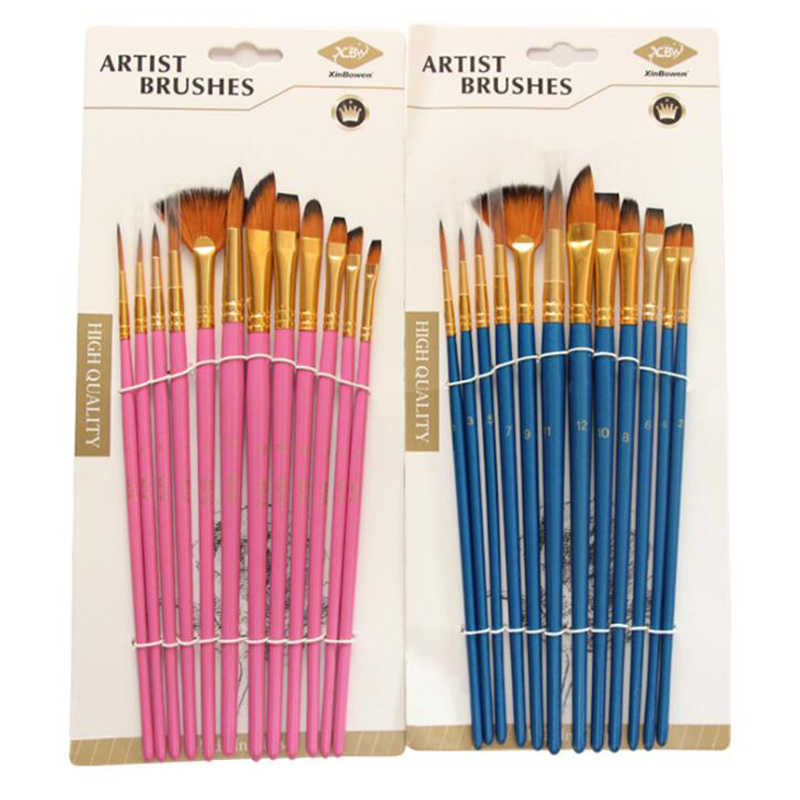 12 יח'\סט שונה גודל אקריליק שמן ציור מברשות צבעי מים עט אמן ניילון שיער צבע מברשת DIY ציור אספקת אמנות