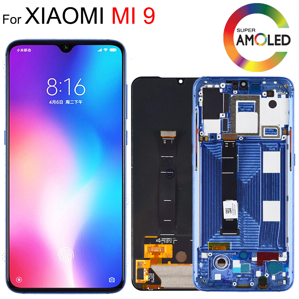 6.39'' AMOLED Original LCD For Xiaomi Mi 9 Mi9 Display For Xiaomi 9 LCD Display Touch ScreenDigitizer Assembly With Frame