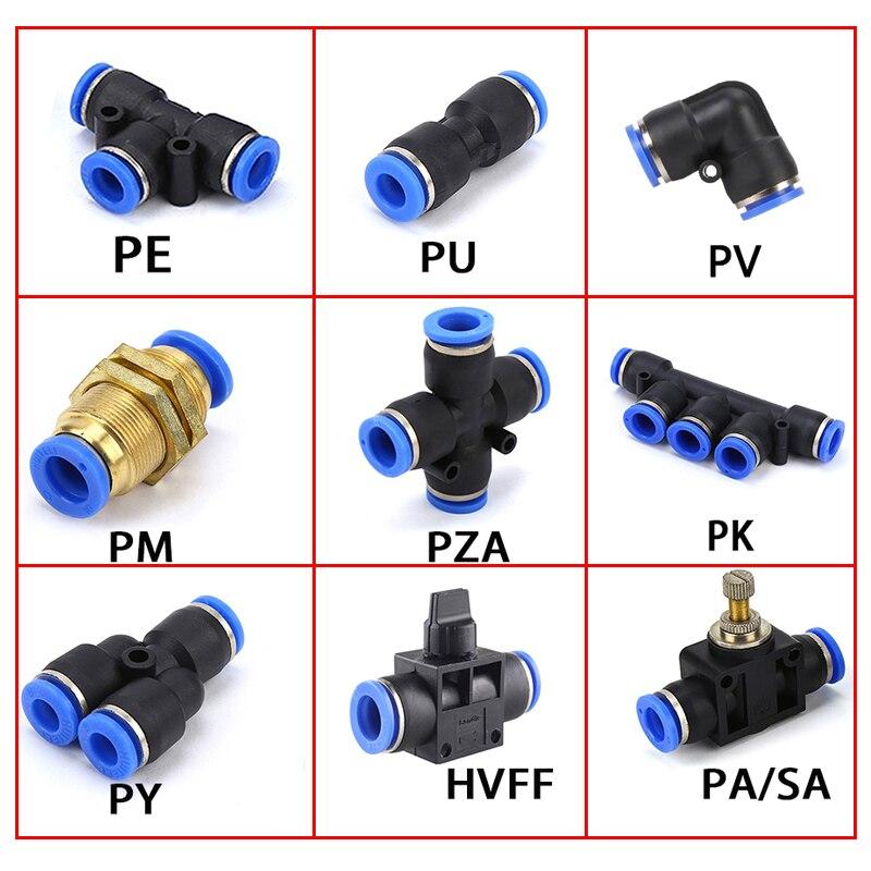 Pnömatik bağlantı parçaları PY/PU/PV/PE/HVFF/SA su boruları ve boru konnektörleri doğrudan itme 4-12mm/ PK plastik hortum hızlı kaplinler