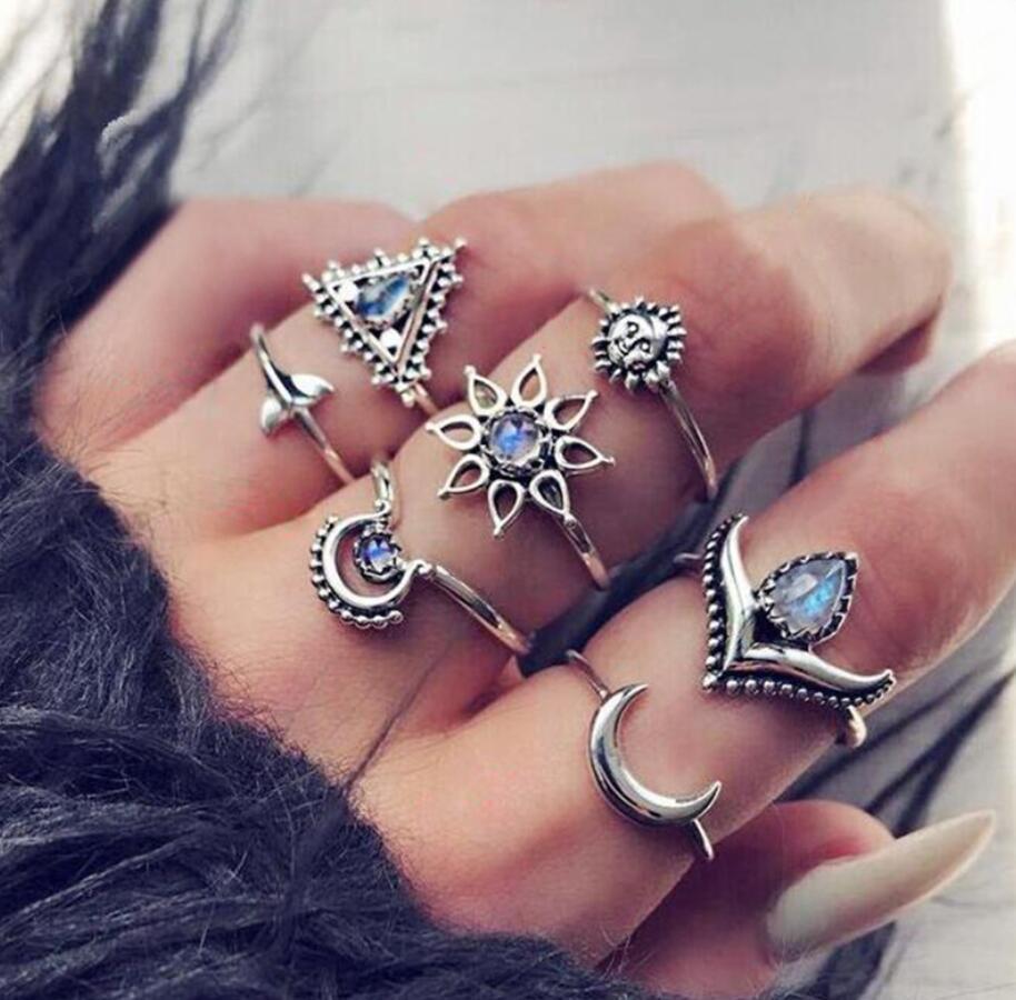 20 видов стилей Для женщин в богемном стиле винтажная корона цветок из складок сердце лотоса Star кристалл в форме листика опал кольцо с камнем вечерние украшения Серебряные кольца комплект - Цвет основного камня: 1095