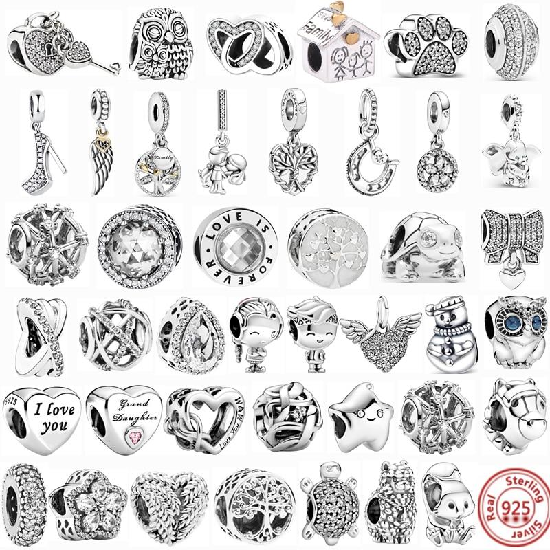 DIY Jewelry Bracelets Charms Dangle-Beads Family Women 100%925-Sterling-Silver Original Pandora