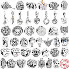 100% 925 Sterling Silver Feather Family Tree Snowflakes Boy Dangle Beads Fit Original Pandora Charms Bracelets DIY Women Jewelry