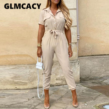 Women Elegant Casual Solid/printed Short Sleeve Jumpsuit Lady Buttoned Turn-down