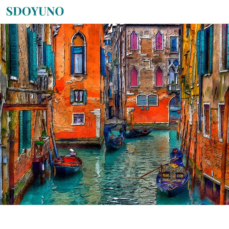 SDOYUNO Frameless Paint By Number Canvas Painting Kits DIY 60X75cm Landscape Painting By Numbers On Canvas Venice Home Decor