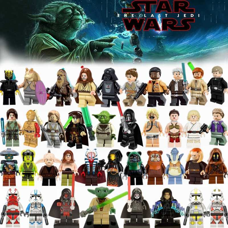 Starwars Yoda Darth Vader Luke Leia Anakin Obiwan Han Solo Rey Jar Jar Star Wars Sets Building Blocks Figures Toys for Children
