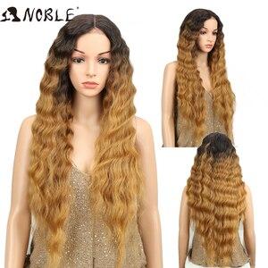 Image 5 - Nobre longo peruca preta onda profunda perucas da parte dianteira do laço para as mulheres negras 30 polegadas ombre loira marrom peruca dianteira do laço peruca sintética cosplay