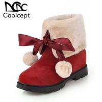 Coolcept Ankle Boots Women Fashion Bowknot Winter Keep Warm Plush Fur Flats Snow Boots Round Toe Casual Short Boots Size 33 43