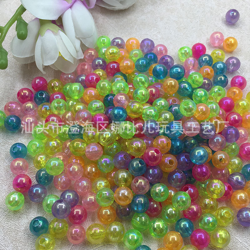 6mm Transparent Plastic Round Beads AB Color Clothing Ornament Accessories Beaded Bracelet Handmade Material