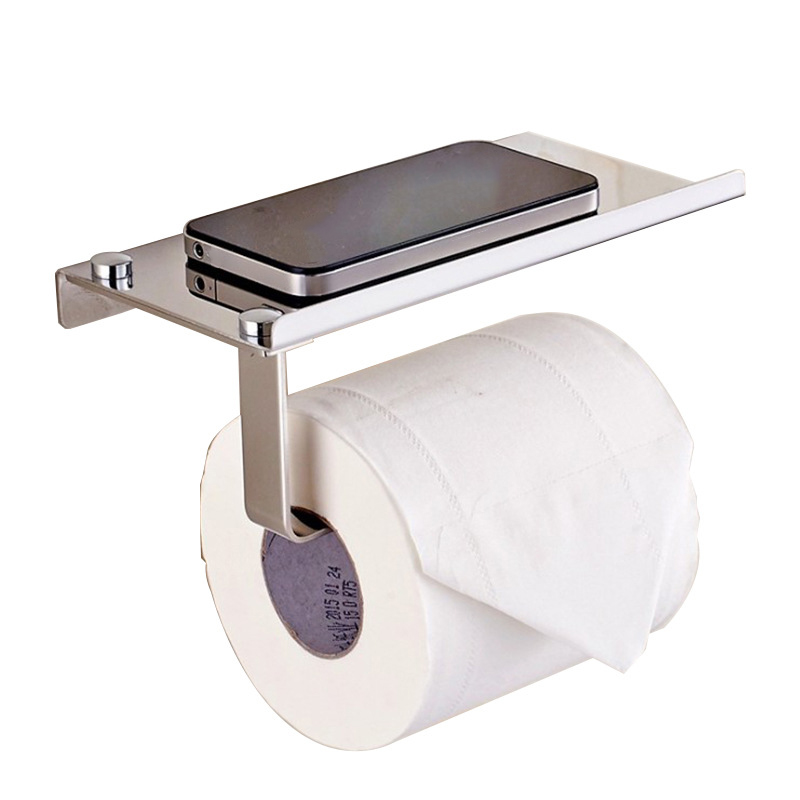 Stainless Steel Wall Mount Toilet Tissue Paper Holder With Phone Cigarette Shelf Bathroom Roll Paper Holder Rack