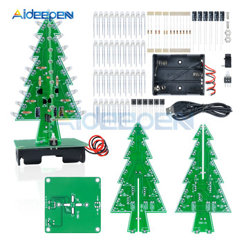 7 Colors Red/Green/Yellow LED Flash Christmas Tree DIY Kits LED 3D Christmas Tree Circuit Board Electronic Suite Holiday Decor