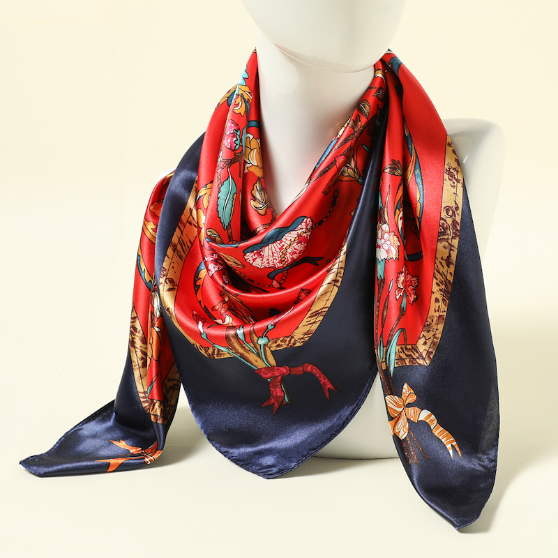 2020 Design Print Silk Women Scarf Foulard Hijab Floral Lady Head Scarves Square Shawls Wraps Pashmina Satin Bandana 90*90cm