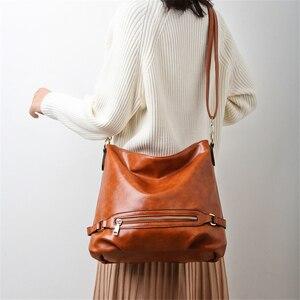 Image 3 - Vintage Bolsas Oil Leather Handbags Ladies Hand Bags for Women 2019 Luxury Handbags Women Bags Designer Casual Tote Sac A Main