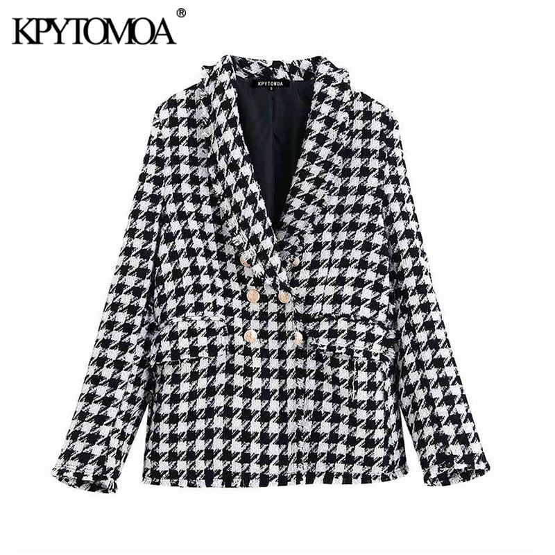 KPYTOMOA Women Fashion Double Breasted Houndstooth Tweed Blazers Coat Vintage Long Sleeve Frayed Trim Female Outerwear Chic Tops