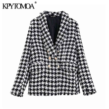 KPYTOMOA Women Fashion Double Breasted Houndstooth Tweed Blazers Coat Vintage Lo