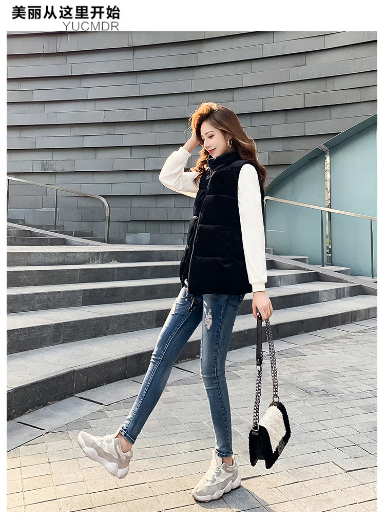 Осень и зима, стиль, пуховый хлопковый жилет, женский корейский стиль, свободный короткий жилет, хлопковый жилет без рукавов