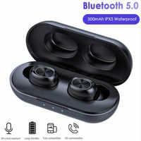 TWS słuchawki Bluetooth Streo bezprzewodowe słuchawki douszne z diodą LED wyświetlacz mocy obudowa 3D dźwięk radia IPX5 wodoodporne białe etui z funkcją ładowania