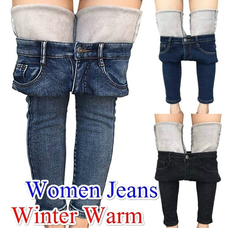 2019 New Women's Winter Jeans Thick Tights Wool Lining Slim Fit Stretch Warm Solid Denim Trousers Women