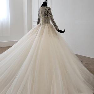 Image 4 - HTL1149 夜会服のウェディングドレス 2020 レースoネックレースアップバックコルセットブライダルドレス長袖ビーズ платье свадебное