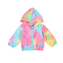 2020 Autumn Winter Baby Girls Boys 0-24M Coats Tie-Dye Printed Long Sleeve Zipper Hooded Jacket Outfits