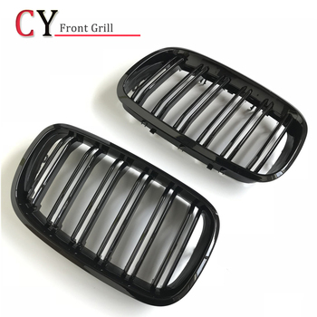 1 Pair Gloss Black Double Slat Kidney Grille Front Grill For BMW X5 E70 X6 E71 Car Styling Racing Grills 2007-2013 image