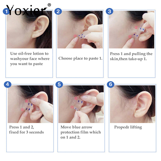 Yoxier Waterproof V Face Makeup Adhesive Tape Invisible Breathable Lift Face Sticker Lifting Tighten Chin 40pcs 5