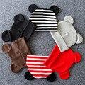 Детская шапка с ушками, теплые хлопковые аксессуары для новорожденных, осенне-зимняя шапка для маленьких мальчиков и девочек, детская шапка - фото