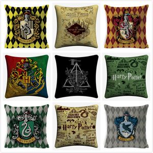 Decorative Harry Style Cushion Cover Cotton Linen Pillowcase 45x45cm For Sofa Chair Potter Pillow Cover Home Decor Cojines