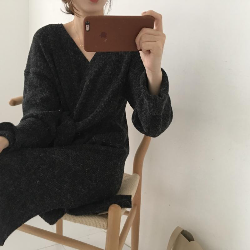 H3732b02eb88a441cb1f18c66e04a34e1F - Winter Korean V-Neck Long Sleeves Knitted Dress