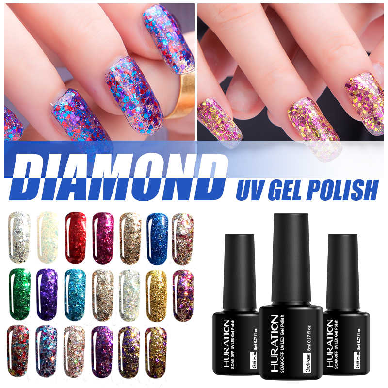 Huration Rendam Off Berlian 8 Ml Glitter Lacquer 20 Warna-warni Berkilau Payet Kuku Gel Polandia UV LED Lampu Gellak Kuku seni Gel Varnish