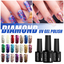 Laca de brillo de 8ml de diamante remojada 20 lentejuelas brillantes coloridas esmalte de Gel UV lámpara LED de uñas Gellak gel arte barniz(China)