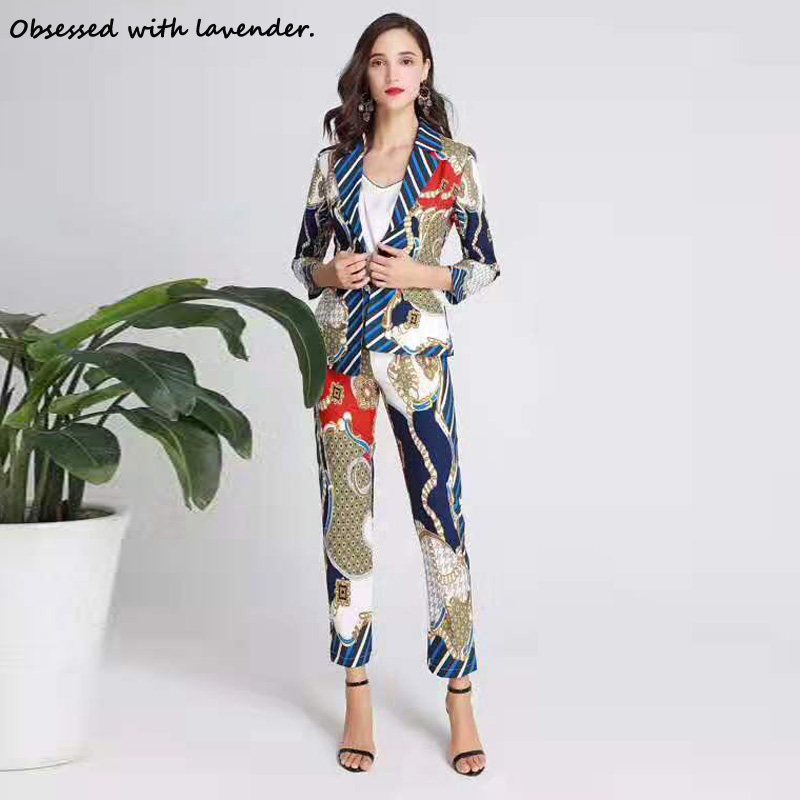 Obsessed With Lavender.Fashion Casual Suit Pants, Belt V Collar Spring And Autumn Female Printing Irregular Coat