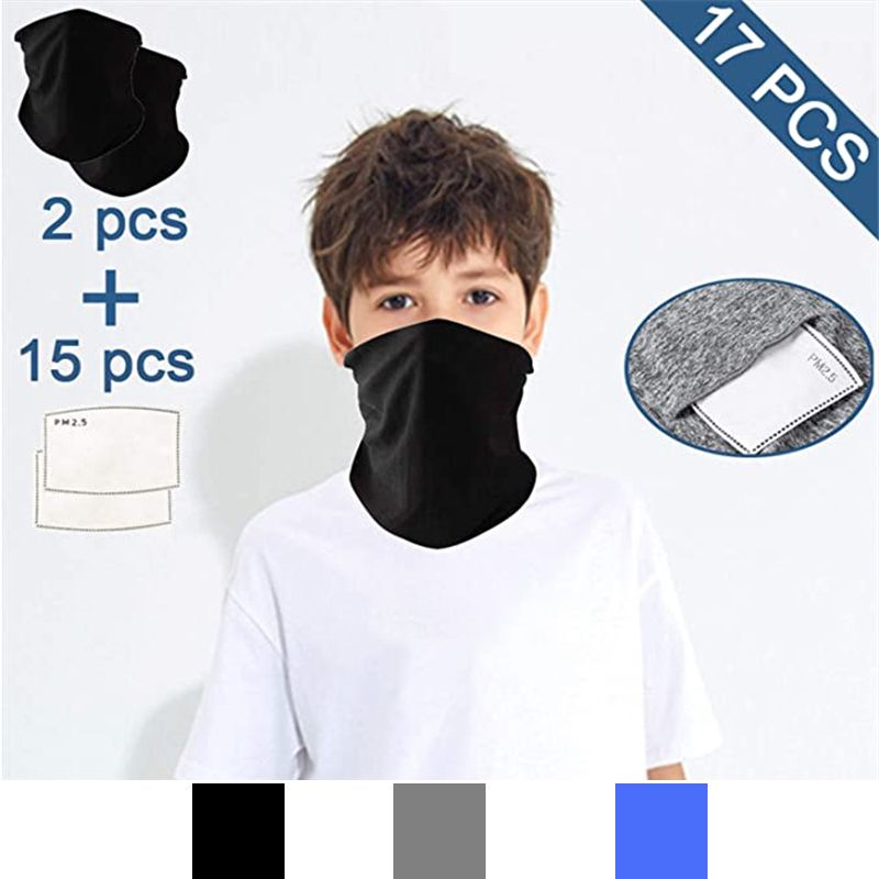 Children's Bandanas Suit Outdoor Windproof Anti-dust Scarf Fashion Solid Color Headwear Riding Face Cover With Filters