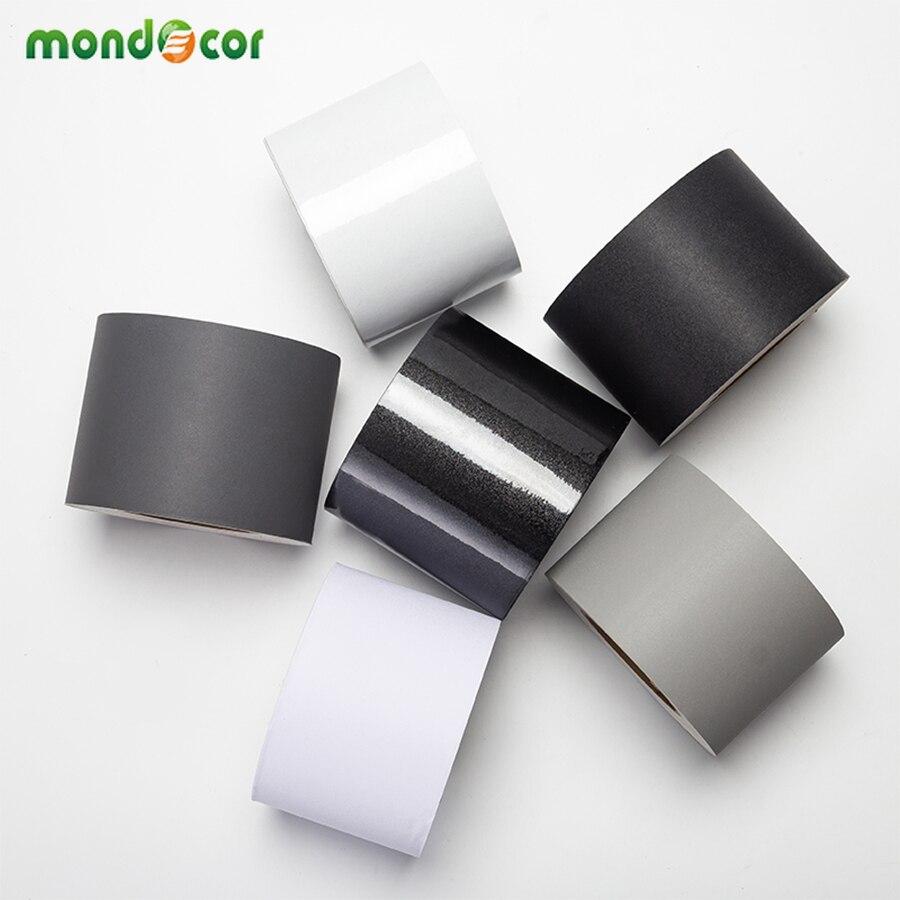 Nuevo adhesivo de pared de línea de cintura impermeable negro/blanco, papel de pared autoadhesivo de tablero base, rollo de borde, calcomanías de baño, película de decoración del hogar
