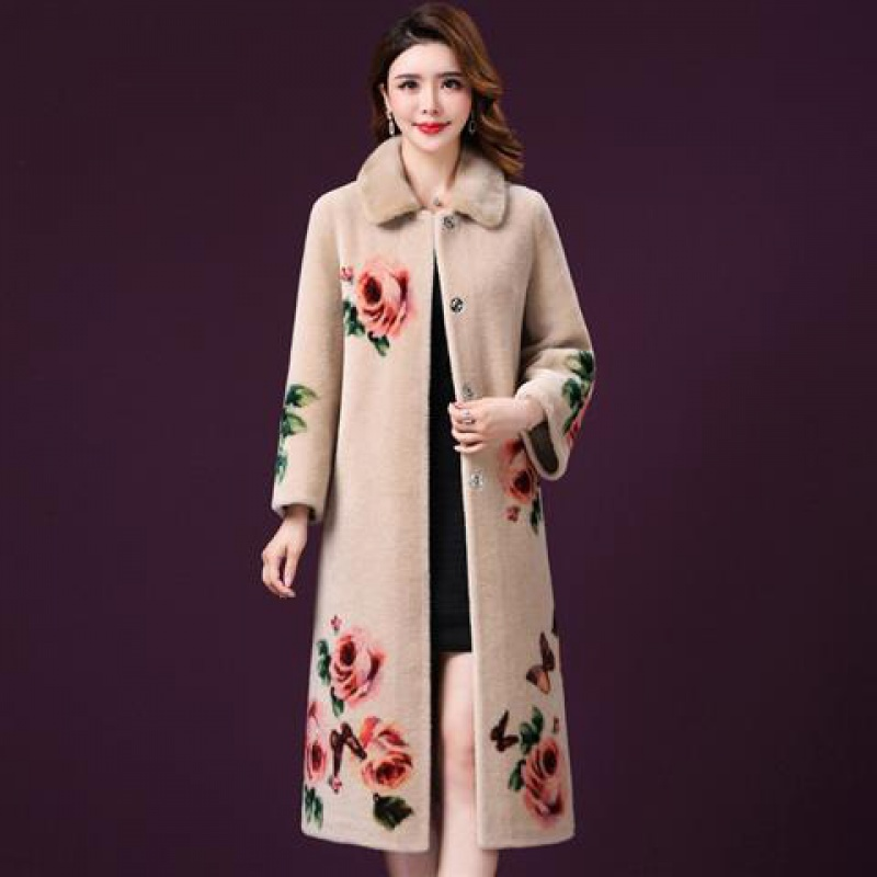 Fall Winter Fashion Womens Vintage Floral Fur Long Coat , Thick Warm Overcoat For Woman , Women Beige Flower 4xl Coats