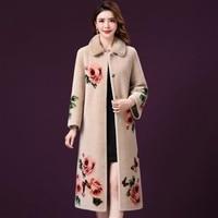 Fall Winter Fashion Womens Vintage Floral Fur Long Coat , Thick Warm Overcoat for Woman , Women Beige Flower 4xl Coats