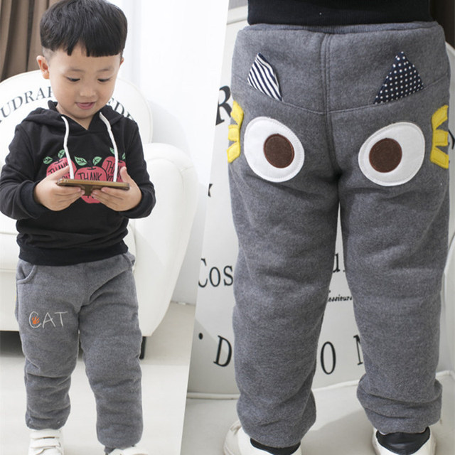 Winter Toddler Boys Winter Warm Trousers Cartoon Children's Trousers for 1-6 Years Boys Plus Velvet Thickening Pants 3