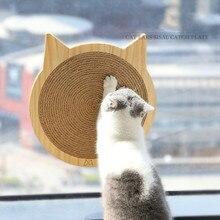 Cat Window Wall Mount Scratcher Cat Claws Care Toy Kitten Scratching Sisal Plate Kitten Scratch Board Furniture Protector