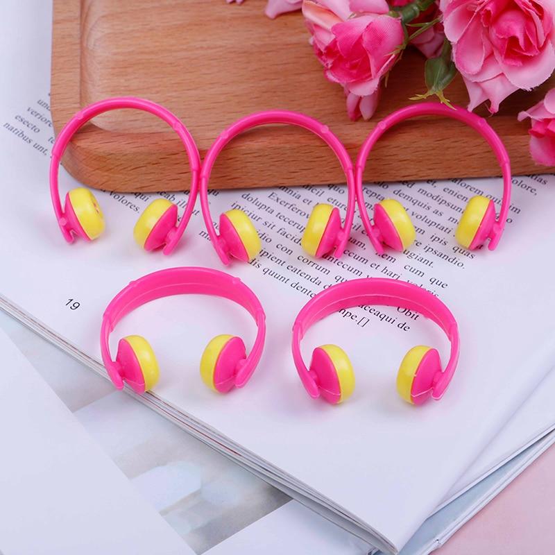 5pcs Plastic Headphones Fancy Doll Helmet For Dolls Decorative Toy Kids Girls Toy Roller Play Accessories