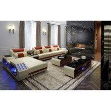 Диван для гостиной набор массажер настоящий диван с обивкой из бычьей кожи откидной динамик bluetooth puff asiento muebles de sala canape cama